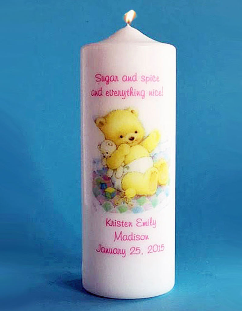 Personalized New Baby Girl Candle, white or ivory