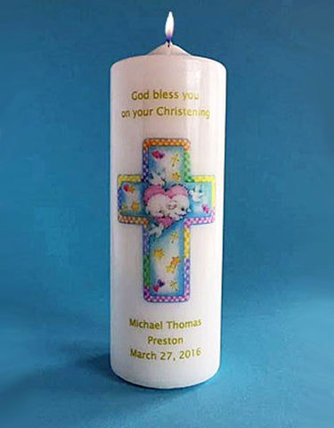 Personalized Baptism Candle with Cross and Lamb, white or ivory
