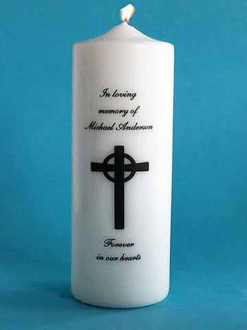 Personalized Memorial Candle with Cross, white or ivory