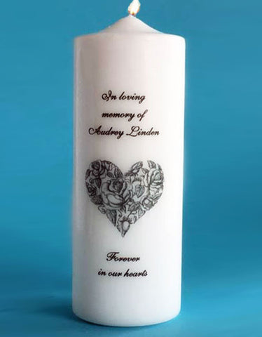 Personalized Memorial Candle with Victorian Heart, white or ivory
