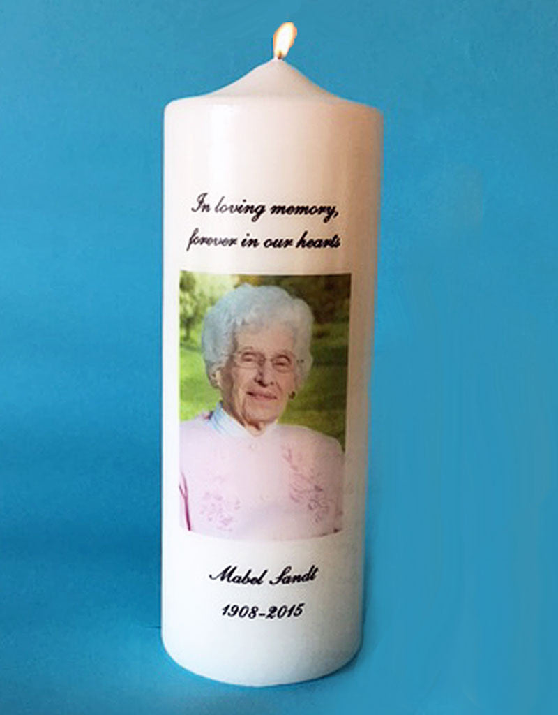 Personalized Memorial Candle with Photo, white or ivory