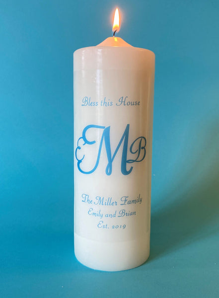 Monogrammed Candle, Three Initial Cursive Monogram, Choice of Ink and Candle Color, Custom Text