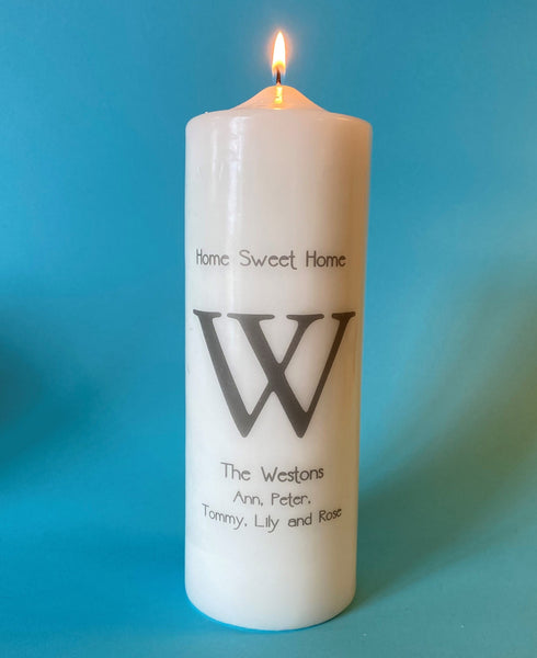 Monogrammed Candle, Single Bold Initial, Choice of Ink and Candle Colors,  Custom Text