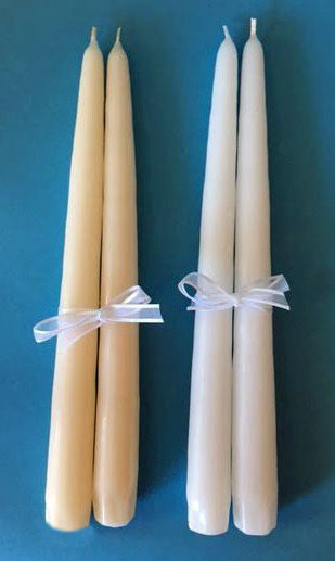 Double Heart Wedding Unity Candle Set with choice of verse, white or ivory