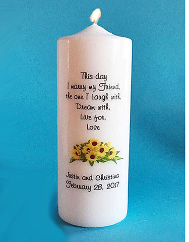 Personalized Bouquet of Sunflowers Wedding Unity Candle Set with choice of verse, white or ivory
