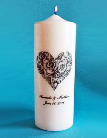 Personalized Victorian Heart Wedding Candle, white or ivory