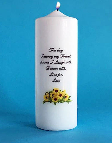 Wedding unity candle with sunflowers and This Day I Marry my Friend verse