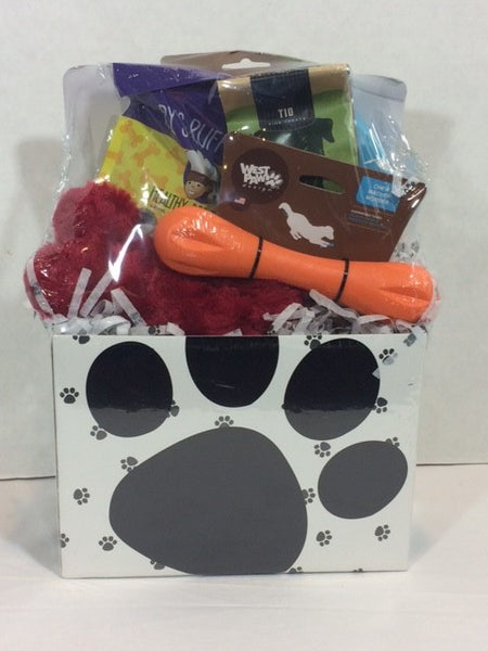 Dog Basket - Black & White Large Paw Print