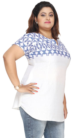 Plus Size India Tunic Top Kurti Womens Printed Indian Clothes (White-Blue)