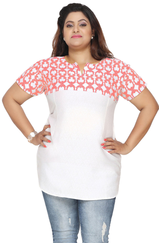 490d3cba9b2 Tunic Top Kurti Plus Size Womens Printed Indian Clothes (White-Red)