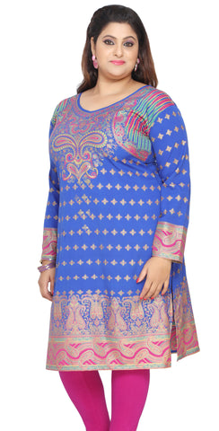 Tunic Long Top Kurti Womens Plus Size Indian Clothes (Blue)