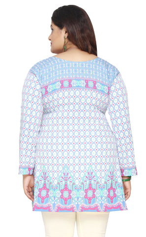 Womens Indian Tunics Kurti Top Printed Plus Size Apparel (Blue)