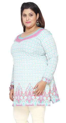 Plus Size Womens Indian Tunics Kurti Top Printed  Apparel (Turquoise)
