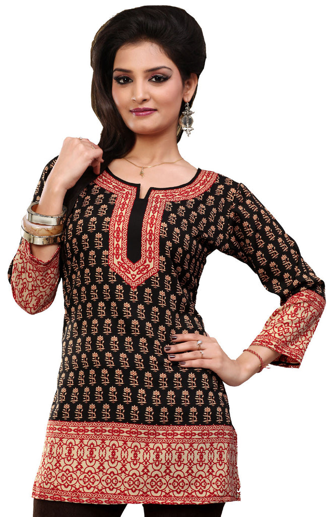 Maple Clothing Indian Kurti Womens Tunic Top Printed Blouse India Clothing