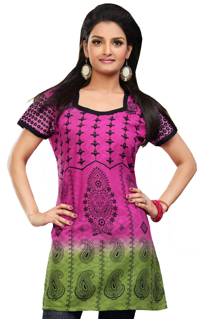 ae1d825ed6aba Cotton Long Indian Womens Tunic Top Printed Blouse India Clothes (Pink)