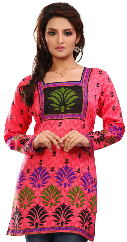 6a242d1e89c7 Indian Kurti Top Tunic Printed Womens Blouse Cotton India Clothes (Pink)