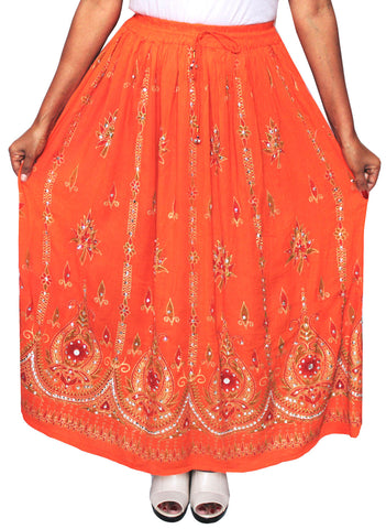 Indian Long Skirts Sequins Maxi Length India Clothes (Orange)