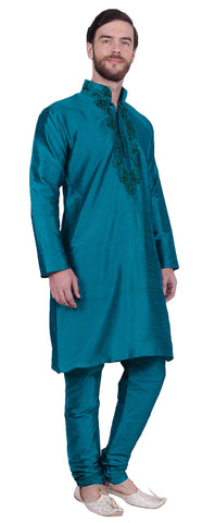 Embroidered Silk Mens Kurta Pyjama Indian Clothes (Turquoise)