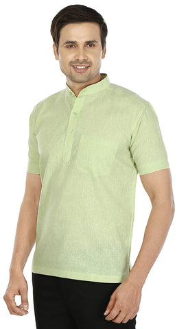 Cotton Mens Short Sleeve Short Kurta Shirt India Clothes (Green)