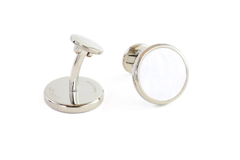Round Steel Mother of Pearl Cufflinks