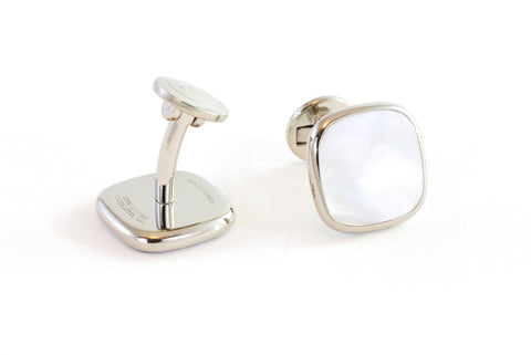 Square Steel Mother of Pearl Cufflinks