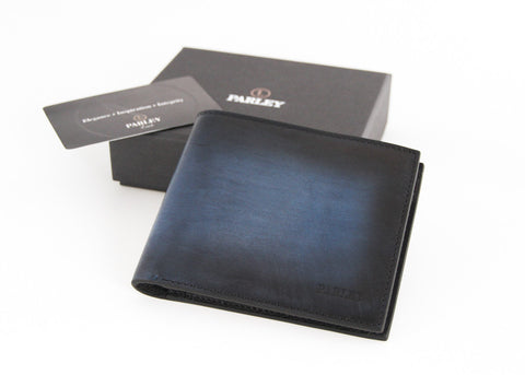 Hand Shaded Blue Wallet 4CC + Coin + 2 Bill Compartments
