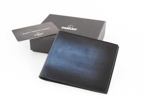 Hand Shaded Blue Wallet 8CC + 2 Bill Compartments
