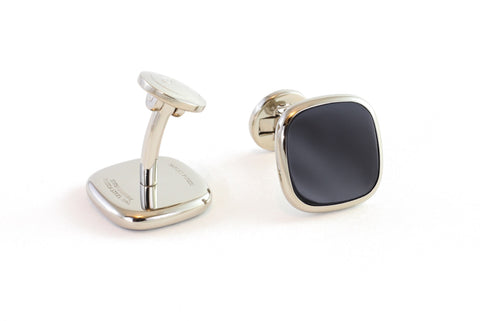 Square Steel Onyx Cufflinks