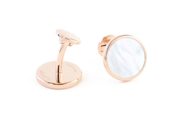 Round Rose Gold Mother of Pearl Cufflinks