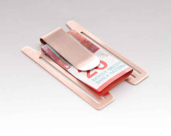 Rose Gold PVD Money-Clip for Aluminum Credit Card Holder