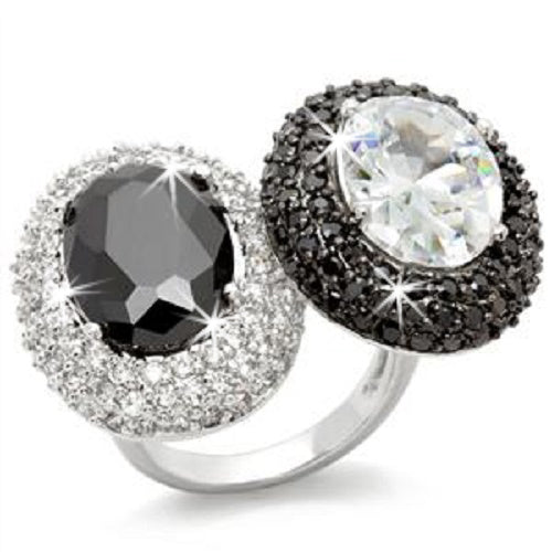Black White Micro Pave Cz Diamond Cocktail Ring