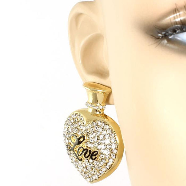 Heart LOVE Perfume Crystal Earrings Gold