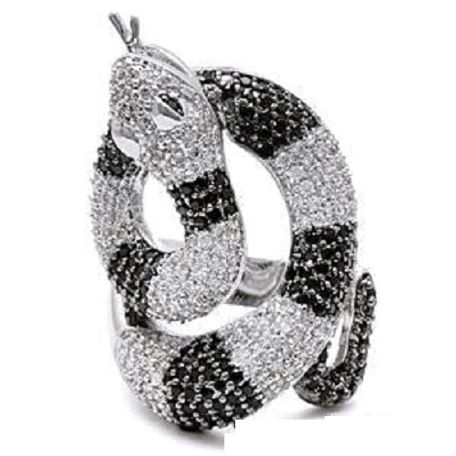 BLACK & WHITE Micro Pave SNAKE CZ Ring