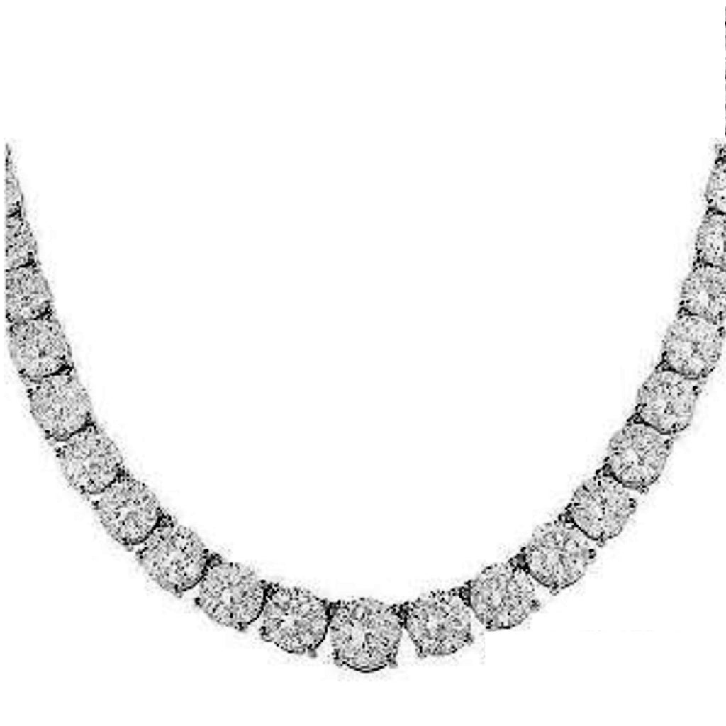 25ct CZ Diamond Graduated Tennis Necklace Silver