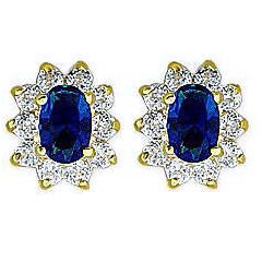 Sapphire Oval & Round Cz Diamond Stud Earrings Gold