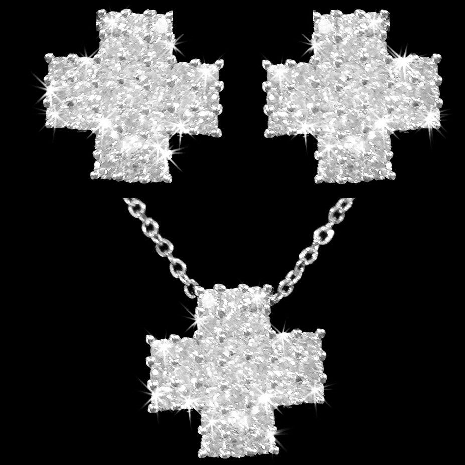 Pave CZ Cross Stud Earrings & Necklace Set