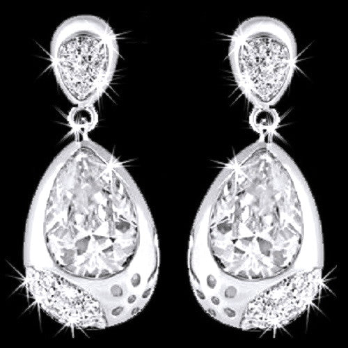 Bezel Set Micro Pave Cz Diamond Dangle Earrings