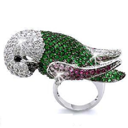 HUGE Emerald Fuchsia PARROT Micro Pave CZ Ring