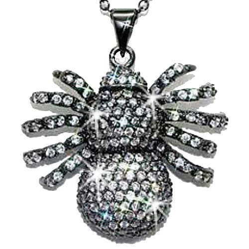 Pave CZ Diamond Black & White Spider Necklace