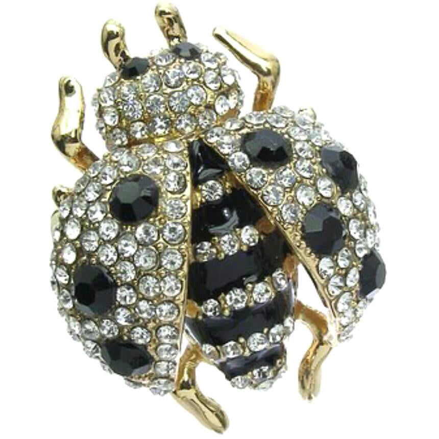 Lucky LADYBUG Black White Pave Crystal BLING Ring