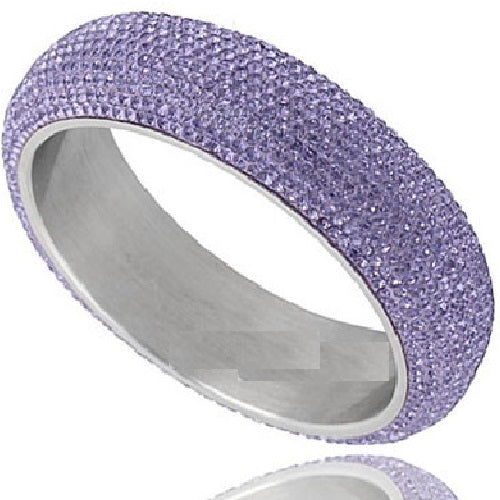 12-Line Pave Set Purple Crystal Bangle Bracelet Stainless Steel