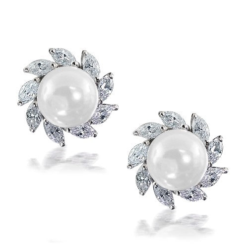 Pearl Cz Diamond Marquise Cut Stud Earrings