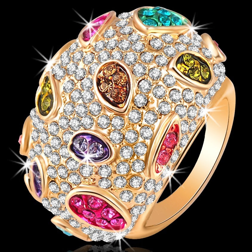 Multi Color Crystal Pave Set Sparkle Dome Ring