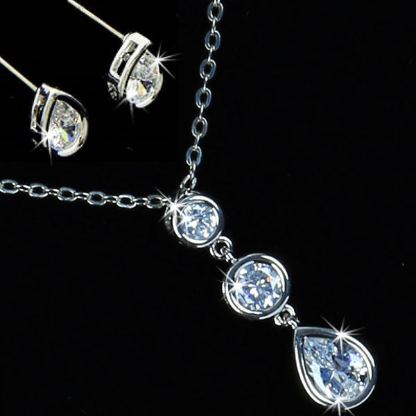 Bezel Set CZ Diamond Pendant Earring Set