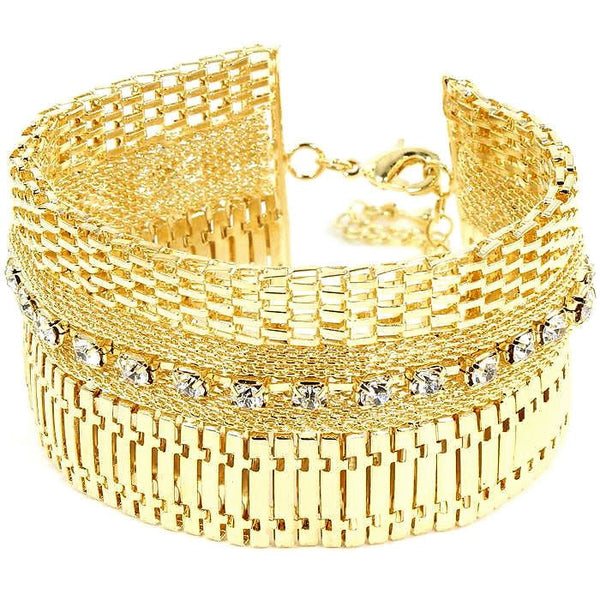 Crystal Cleopatra Chain Link Tennis Bracelet Gold