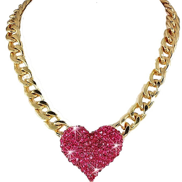 Pink Pave Puffed Heart Necklace