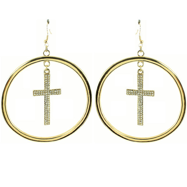 4-Inch Pave Set Dangle Cross Crystal Hoop Earrings Gold