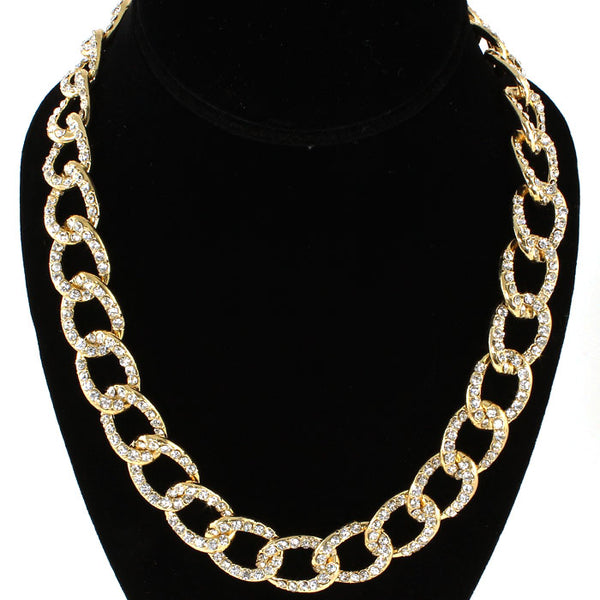 Pave Set Crystal Chain Link Tennis Necklace