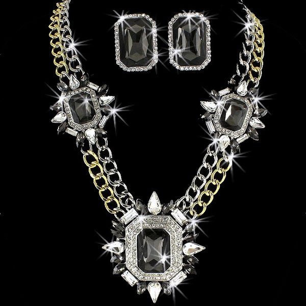 Gold Silver Black Pave Crystal Chain Link Necklace & Earrings