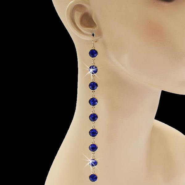 "6"" Long Bezel Set Crystal Dangle Earrings Blue"